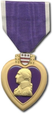 Purple Heart Medal awarded for wounds received in combat