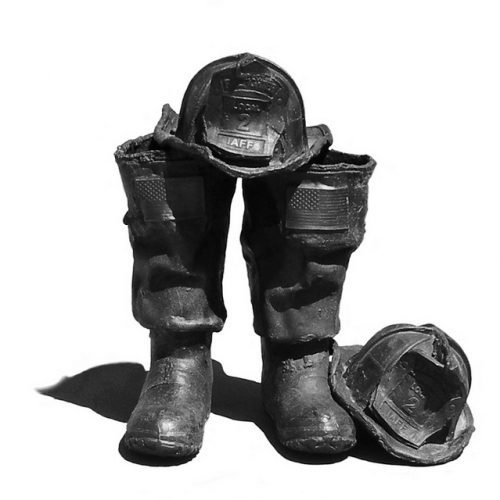 Fireman's boots and helmet